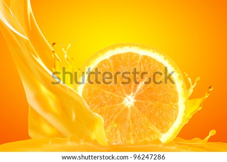 Orange juice isolated on yellow background