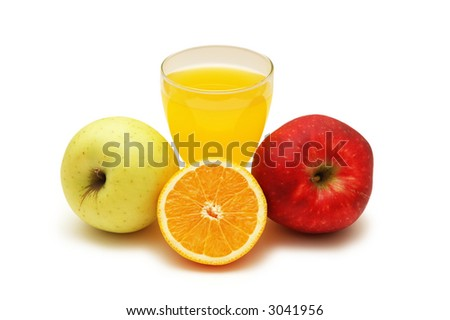 Orange juice, orange and two apples  isolated on white
