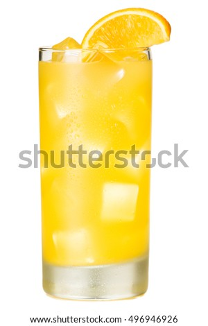 Orange Juice Screwdriver Cocktail on White