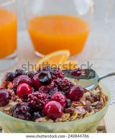 Orange Juice Showing Wholemeal Muesli And Breakfast #240844786