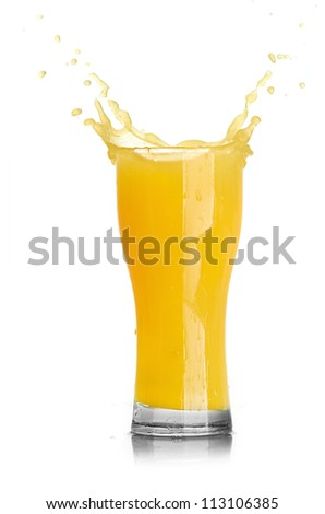 orange juice splash isolated on a white background