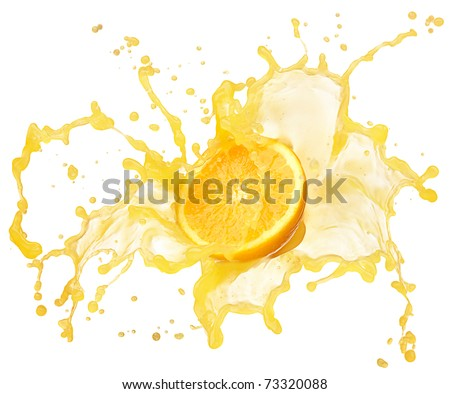 orange juice splash isolated on white