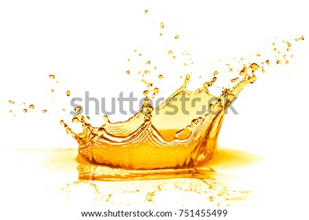 orange juice splash isolated on white background #751455499