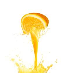Orange juice splashing isolated on white background