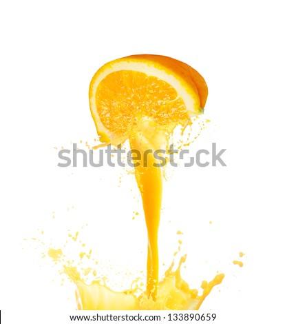 Shutterstock Orange juice splashing isolated on white background