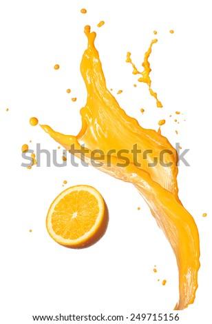 orange juice splashing with its fruit isolated on white