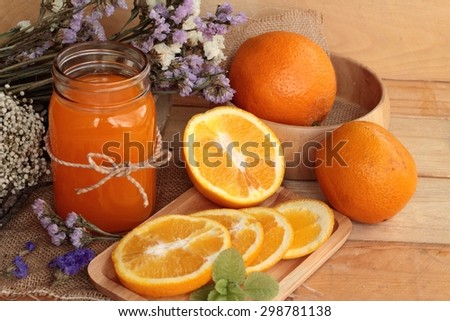 Orange juice with fresh orange fruits sliced. #298781138