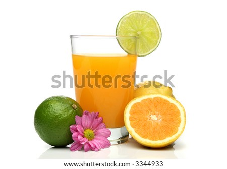 Orange juice with fruit composition over a white background