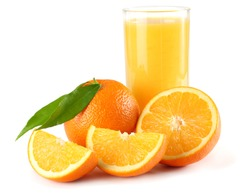 orange juice with orange slices and green leaf isolated on white background. juice in glass