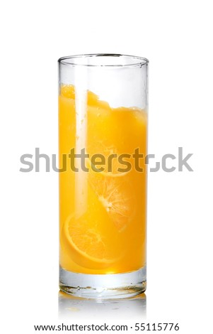 orange juice with slices of orange in the glass isolated on white - stock photo