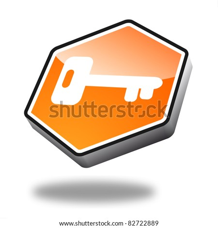 orange key button with perspective, symbol for security
