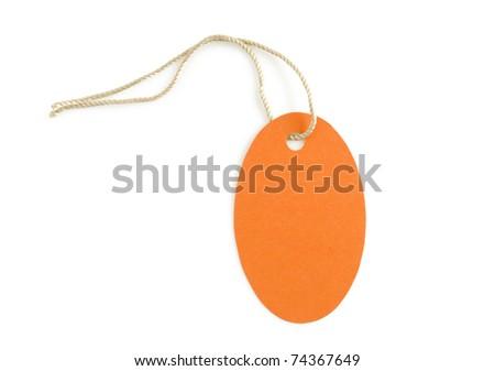 orange label paper isolated on white