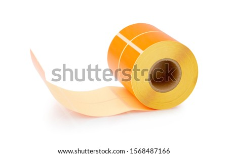 Orange label roll isolated on white background with shadow reflection - clipping path. Color reel of labels for printers. Labels for direct thermal or thermal transfer printing.