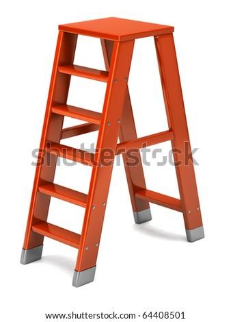 Orange ladder - stock photo