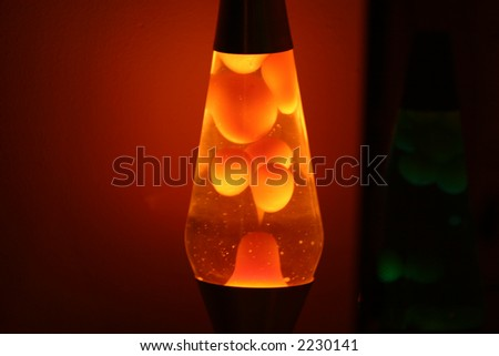 orange lava lamp at night