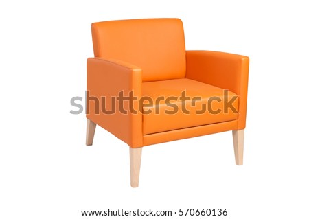 orange leather chair isolated on white #570660136