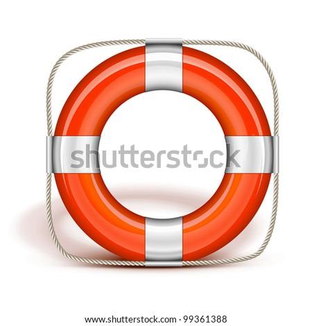 Orange Life Belt in upright - stock photo