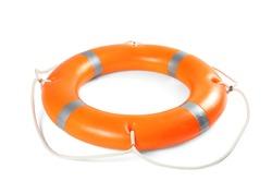 Orange life buoy on white background. Summer holidays