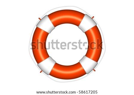 Orange life buoy with rope isolated - stock photo