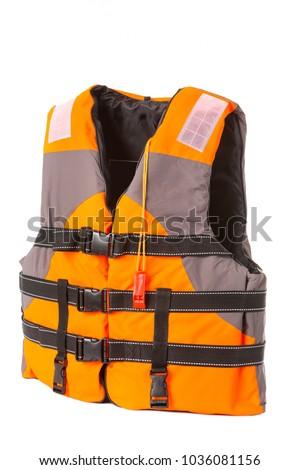 orange life jacket on white background, vest buttoned, isolated