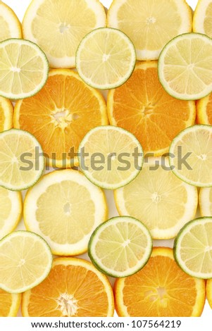 Orange lime and lemon close up