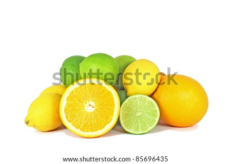 Orange, limes and lemon citrus fruits isolated on white background