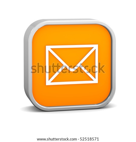 Orange Mail Sign On A White Background. Part Of A Series. Stock Photo ...