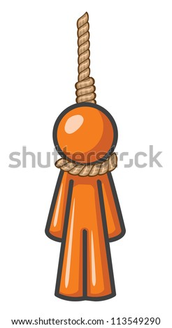 Orange Man hanging for something he did or didn't do.