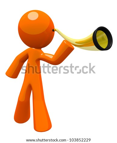 Orange man hard of hearing or deaf, using an ear trumpet to listen to something. Nice image for representing disabilities or just tuning in and listening better.