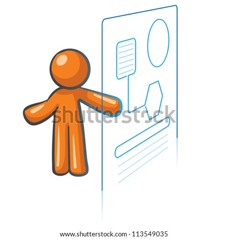 Orange Man information systems concept, information management and databases.