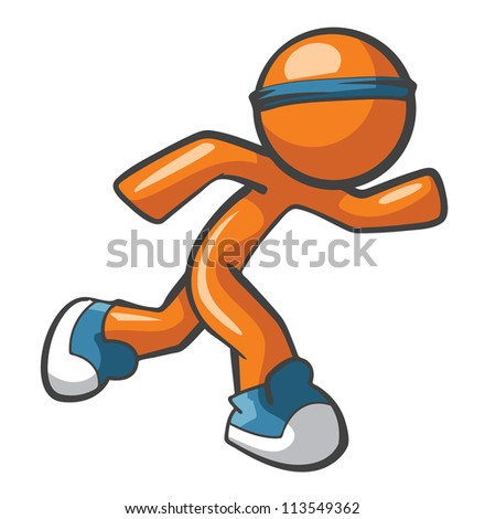 Orange Man running with blue shoes and headband, fast and agile. Sports and fast services concept, quite diverse.
