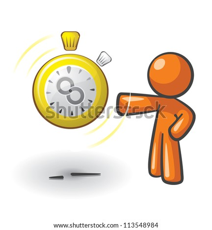 Orange Man with a clock that has an infinity symbol on it, a concept in getting more time or saving it.