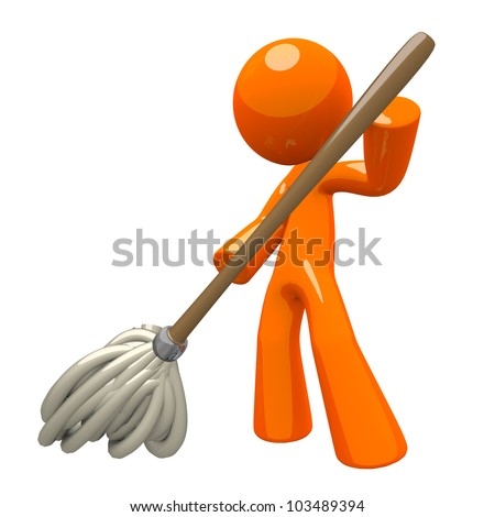 Orange Man with 3d Mop, mopping the floor, cleaning services illustration.
