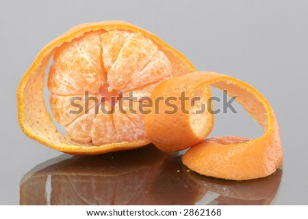 Orange mandarin peeled as offering for the Chinese New Year