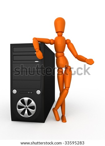 Orange mannequin and PC. Isolated.