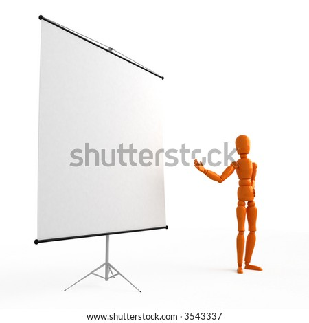 Orange mannequin  at the flip chart