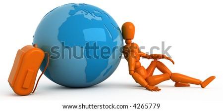 Orange mannequin with globe