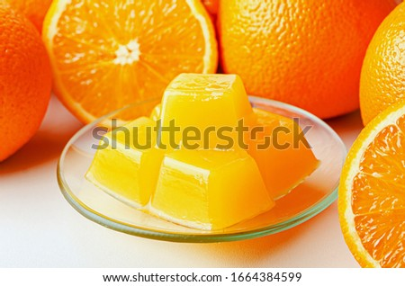 Orange marmalade from agar agar. Healthy vegetarian sweets. Healthy eating is the substitution of the harmful for the healthy. Stock fotó ©