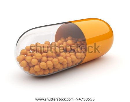 Orange medical pill 3D. Vitamins. Isolated on white background