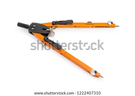 Orange metal jointed pair of compasses with quick setting and adjusting nut on a white background\r