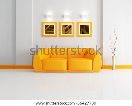 orange modern sofa in a white living room-rendering- the art pictures on wall are my composition