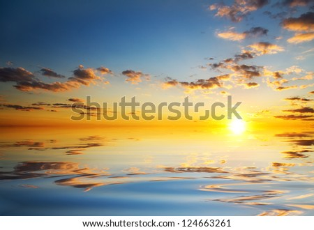 orange mystic sunset of sea of japan