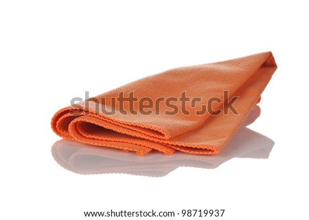 orange napkin from microfibre for cleaning  isolated on white background - stock photo