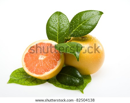 Orange on white background with leafs