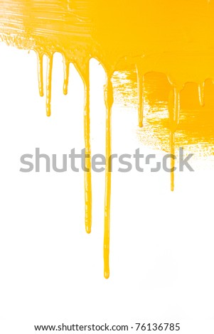 Orange paint  flows / isolated on white background with copy space / real photo - stock photo