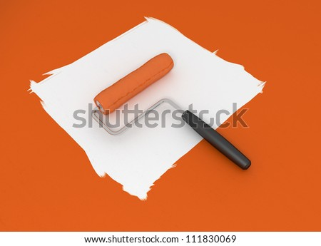Orange Paint Roller - Isolated on White Background