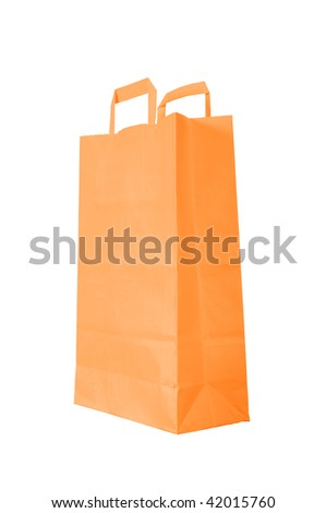 orange paper bag is on white background