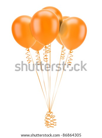 orange party balloons with ribbons isolated on white background