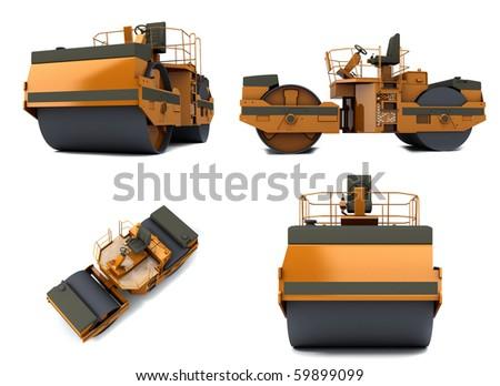 Orange paving machine isolated on white background