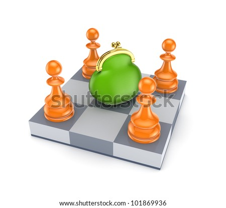 Orange pawns around green purse.Isolated on white background.3d rendered.